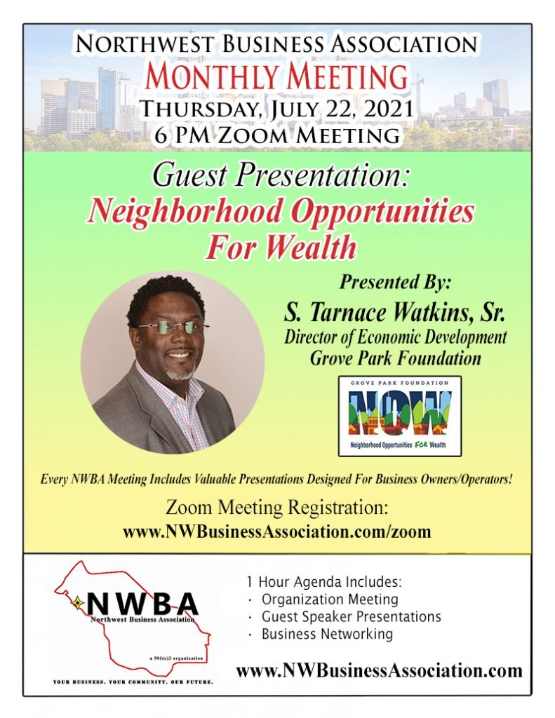 NWBA Monthly Meeting Flyer - July 2021
